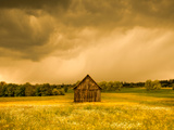 Barn in a Field of Wildflowers with Storm Clouds  Baden-Wurttemberg  Germany