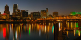 Skyline with City Light at Night  Portland  Multnomah County  Oregon  USA
