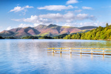 Lake with Mountains in the Background  Derwent Water  Lake District National Park  Cumbria  England