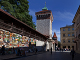 The Open Air Art Gallery on the Medieval City Walls and the Florianska Gate  Krakow  Poland
