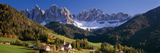 Trees and Farmhouses in a Field with Mountains in the Background  Santa Maddalena  Funes Valley