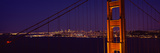 Suspension Bridge across a Bay at Dusk  Golden Gate Bridge  San Francisco Bay  California