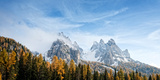 View of Dolomite Mountains in Fall  Toblach  Alto Adige  Italy