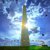 Low Angle View of the Washington Monument  the Mall  Washington Dc  USA