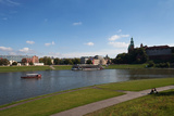 The River Wisla Passing the Distant 11th Century Royal Castle  Wawel Hill  Krakow  Poland