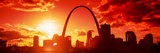 Downtown Buildings and Gateway Arch at Sunset  St Louis  Missouri  USA