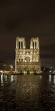 Notre Dame Cathedral at Night  Paris  Ile-De-France  France