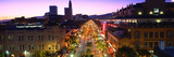 High Angle View of a City Lit Up at Dusk  Third Street Promenade  Santa Monica  California  USA