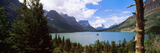 Lake Surrounded by Mountains  St Mary Lake  Glacier National Park  Montana  USA