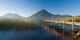 Jetty in a Lake with a Mountain Range in the Background  Lake Atitlan  San Marcos
