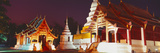 Temple Lit Up at Night  Wat Phra Singh  Chiang Mai  Thailand