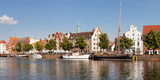 Holstenhafen on the River Untertrave  Lubeck  Schleswig-Holstein  Germany