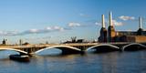 Bridge with Battersea Power Station  Thames River  London  England