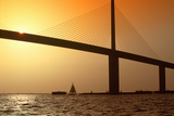 Sunshine Bridge at Tampa Bay and St Petersburg  Florida at Sunset