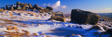 Rocks on a Snow Covered Hill  Dartmoor  Devon  England