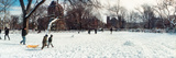 People Walking in a Snow Covered Park  Lower East Side  Manhattan  New York City