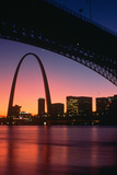 View from under the Eads Bridge of St Louis Missouri Skyline and Archway at Night