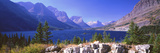 Lake with Mountain Range in the Background  St Mary Lake  Glacier National Park  Montana  USA