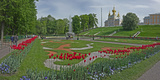 Formal Garden in Front of a Church of Peterhof Grand Palace  Petrodvorets  St Petersburg  Russia