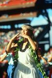 Female Hawaiian Native Dancer at Unity Day Ceremony  Honolulu  Hawaii
