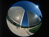 Fisheye View of Office Buildings in Century City  California