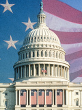 Digital Collage of US Capitol and American Flag