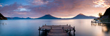 Jetty in a Lake with a Mountain Range in the Background  Lake Atitlan  Santa Cruz La Laguna