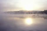 Lake Shrouded in Autumn Morning Fog  Squam Lake  New Hampshire