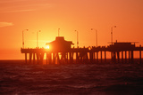 Silhouetted Fishermen on Venice Pier at Sunset  California