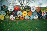 Happy Faces Painted on Barrels in Eastern Shore  Maryland