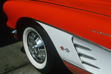 Detail of Front End of 1957 Red and White Corvette in Los Angeles  California