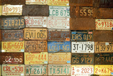 License Plates on a Wall at Old Route 66  Arizona