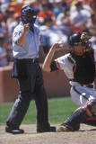 Close-Up of Umpire and Pitcher During Professional Baseball Game  Dodger Stadium  Los Angeles  CA