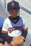 Young Baseball Fan with Giants Jersey Posing at CAndlestick Park  San Francisco  CA