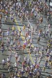 Overhead View of Runners in Los Angeles Marathon  Los Angeles  CA