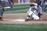Professional Baseball Player Sliding into Base During Game  CAndlestick Park  San Francisco  CA