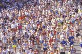 Runner on Finish Line Being Congratulated  Los Angeles Marathon  Los Angeles  CA