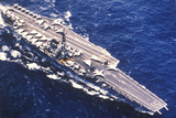 Aerial View of the USS Forrestal Aircraft Carrier on the Ocean