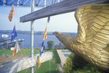 Statue of Golden Eagle Overlooking Water  New London  Connecticut