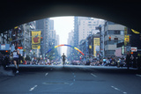 Silhouette of Runner in Ny City Marathon on 1st Avenue