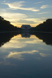 The Lincoln Memorial at Sunset and Reflecting Pool in Washington DC