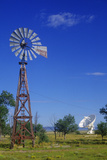 Radio Telescope and Old Windmill at the National Radio Astronomy Observatory in Socorro  NM