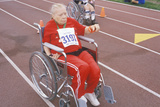 Wheelchair Special Olympics Athlete Competing in Race  UCLA  CA