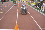 Wheelchair Special Olympics Athlete Competing in Race  Approaching Finish Line  UCLA  CA