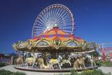 Merry Go Round and Ferris Wheel  Navy Pier  Chicago  Illinois