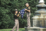 Two Officers Folding the American Flag  Charlottesville  Virginia
