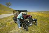 A Man Repairing His Maroon Model T  Surrounded by Spring Flowers Off of Route 58  Shell Road  CA
