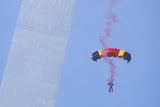 Parachutist over Arch with Smoke  St Louis  Missouri