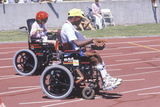 Wheelchair Special Olympics Athletes Competing in Race  UCLA  CA