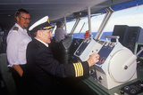 The Captain of the Ferry Bluenose Piloting His Boat as a Navigator Stands By  Yarmouth  Nova Scotia